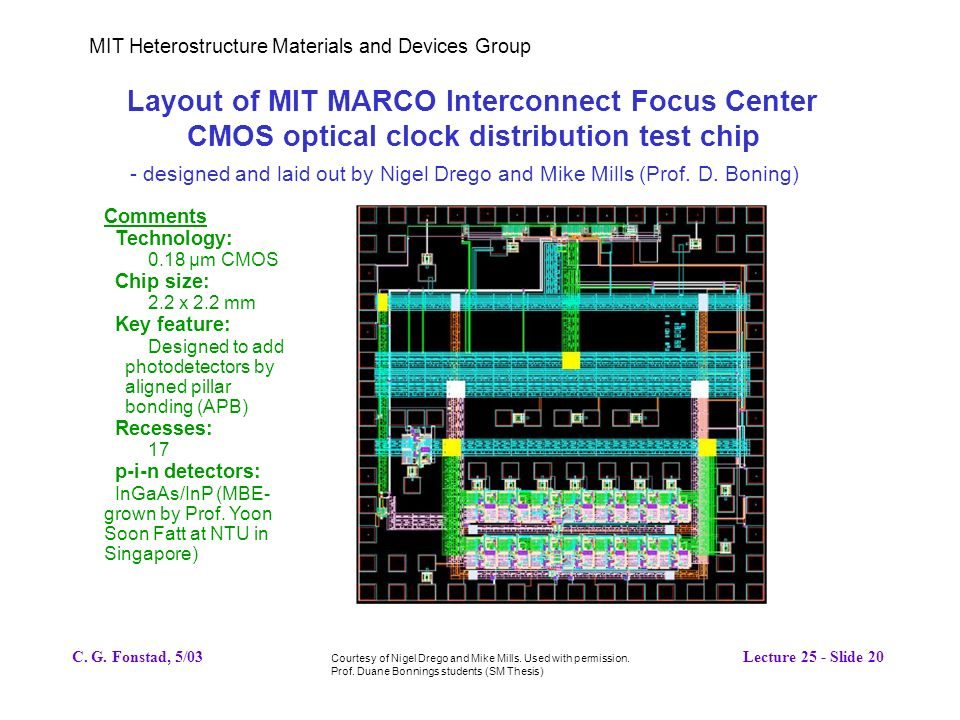 MIT Heterostructure Materials and Devices Group Layout of MIT MARCO Interconnect Focus Center CMOS optical clock distribution test chip - designed and laid out by Nigel Drego and Mike Mills (Prof.