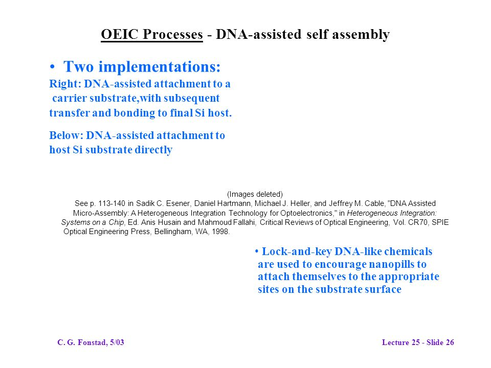 OEIC Processes - DNA-assisted self assembly Two implementations: Right: DNA-assisted attachment to a carrier substrate,with subsequent transfer and bonding to final Si host.