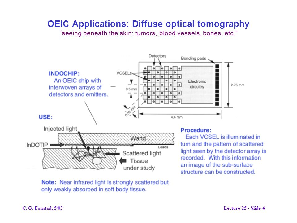 OEIC Applications: Diffuse optical tomography seeing beneath the skin: tumors, blood vessels, bones, etc.