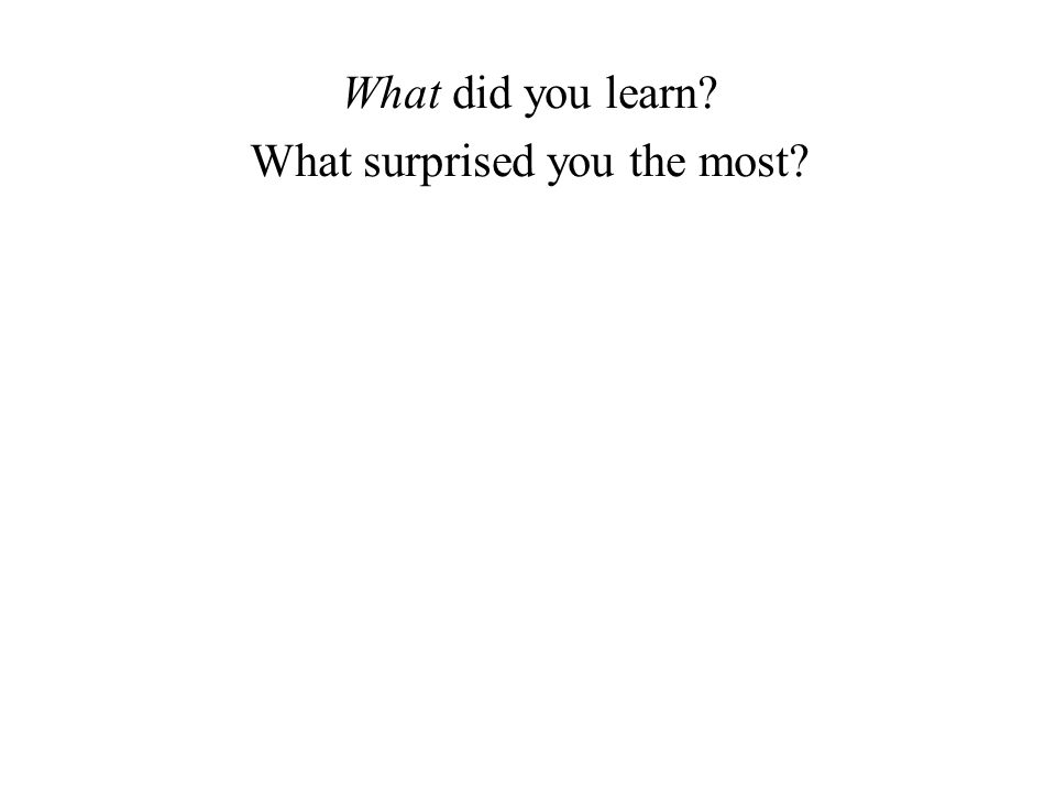 What did you learn? What surprised you the most?