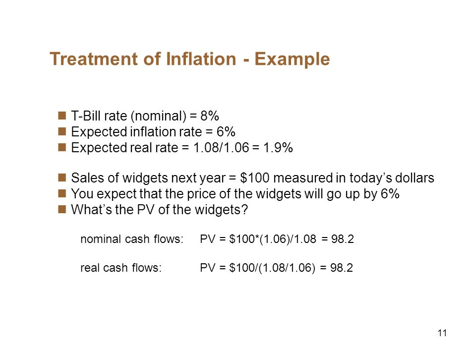 11 Treatment of Inflation - Example T-Bill rate (nominal) = 8% Expected inflation rate = 6% Expected real rate = 1.08/1.06 = 1.9% Sales of widgets next year = $100 measured in todays dollars You expect that the price of the widgets will go up by 6% Whats the PV of the widgets.