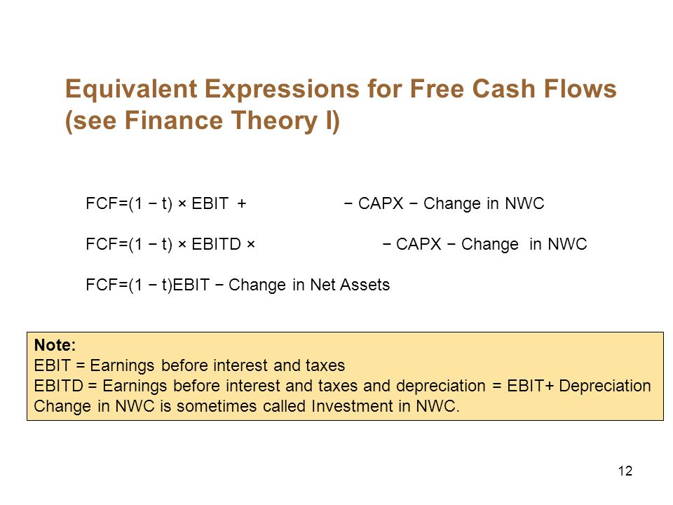 12 Equivalent Expressions for Free Cash Flows (see Finance Theory I) FCF=(1 t) × EBIT CAPX Change in NWC FCF=(1 t) × EBITD × CAPX Change in NWC FCF=(1 t)EBIT Change in Net Assets Note: EBIT = Earnings before interest and taxes EBITD = Earnings before interest and taxes and depreciation = EBIT+ Depreciation Change in NWC is sometimes called Investment in NWC.