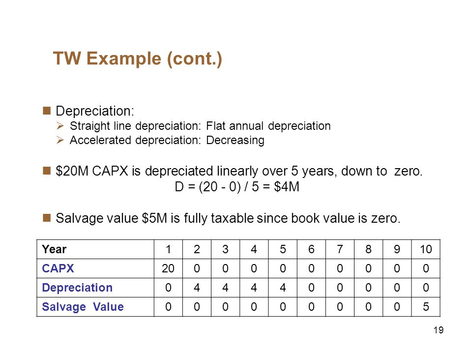 19 TW Example (cont.) Depreciation: Straight line depreciation: Flat annual depreciation Accelerated depreciation: Decreasing $20M CAPX is depreciated linearly over 5 years, down to zero.