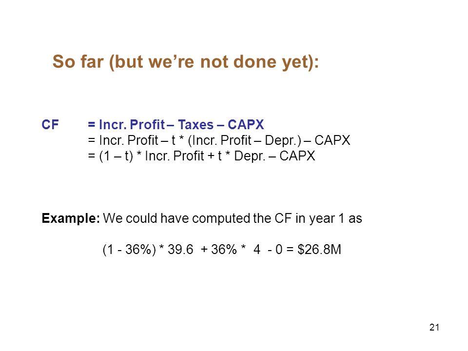 21 So far (but were not done yet): CF= Incr. Profit – Taxes – CAPX = Incr. Profit – t * (Incr. Profit – Depr.) – CAPX = (1 – t) * Incr. Profit + t * D