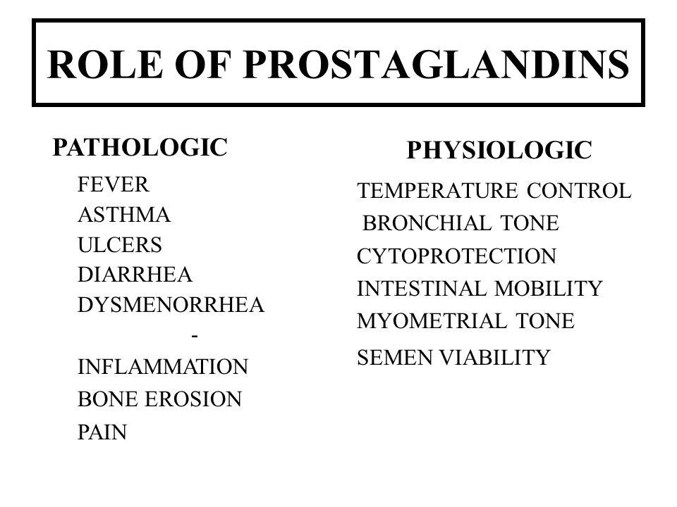 ROLE OF PROSTAGLANDINS PHYSIOLOGIC TEMPERATURE CONTROL BRONCHIAL TONE CYTOPROTECTION INTESTINAL MOBILITY MYOMETRIAL TONE SEMEN VIABILITY PATHOLOGIC FE