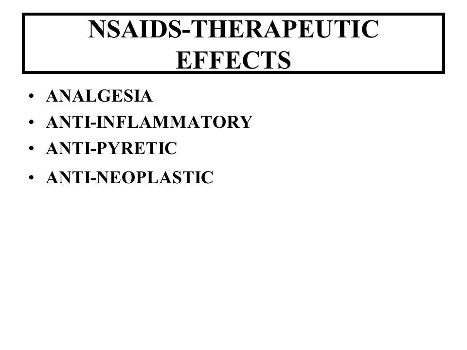 NSAIDS-THERAPEUTIC EFFECTS ANALGESIA ANTI-INFLAMMATORY ANTI-PYRETIC ANTI-NEOPLASTIC