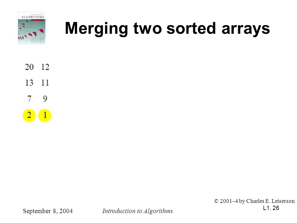 L1. 26 Merging two sorted arrays September 8, 2004Introduction to Algorithms © 2001–4 by Charles E. Leiserson
