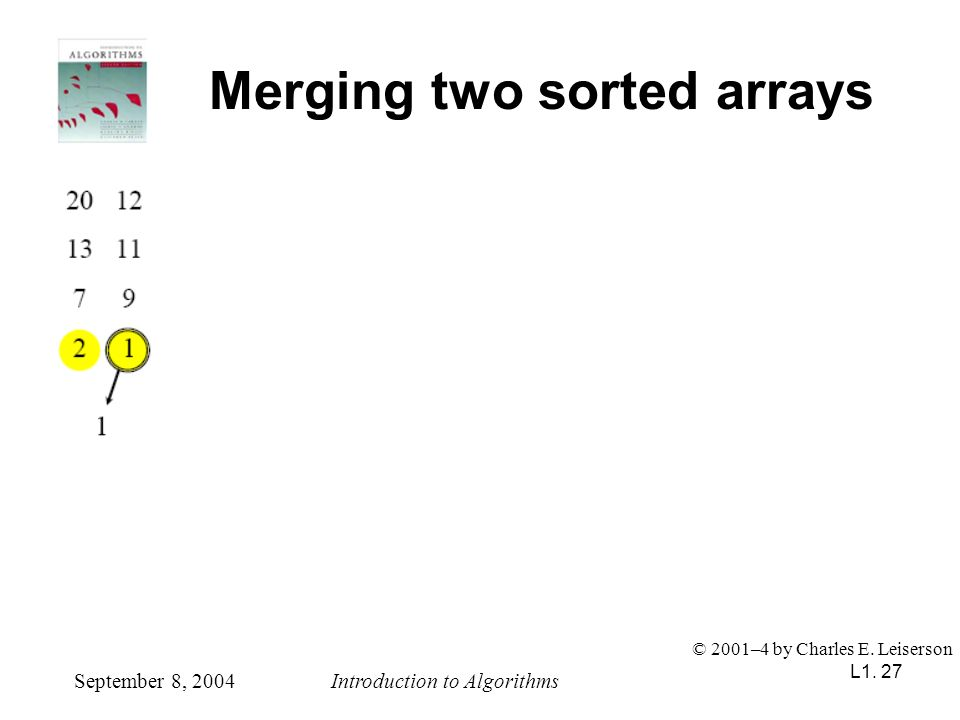 L1. 27 Merging two sorted arrays September 8, 2004Introduction to Algorithms © 2001–4 by Charles E. Leiserson