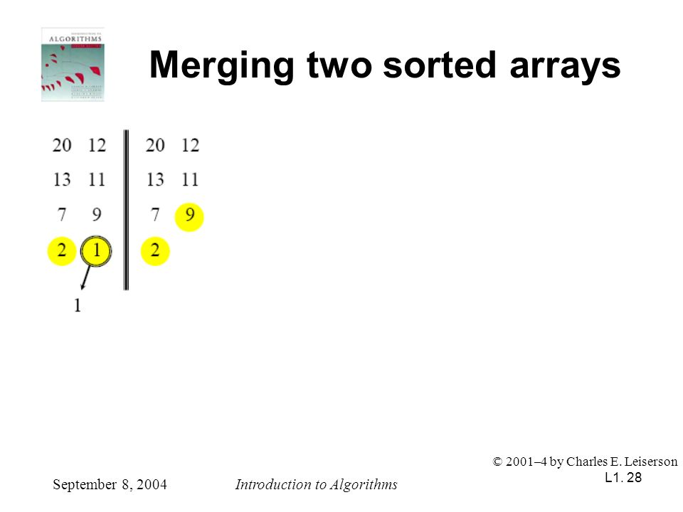 L1. 28 Merging two sorted arrays September 8, 2004Introduction to Algorithms © 2001–4 by Charles E. Leiserson