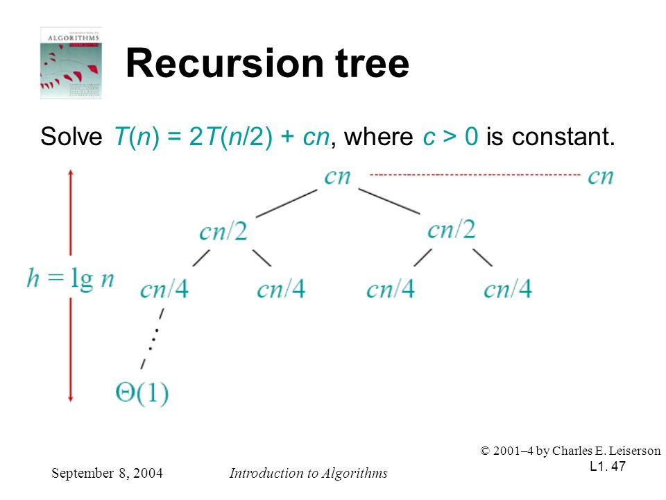 L1. 47 Recursion tree Solve T(n) = 2T(n/2) + cn, where c > 0 is constant. September 8, 2004Introduction to Algorithms © 2001–4 by Charles E. Leiserson