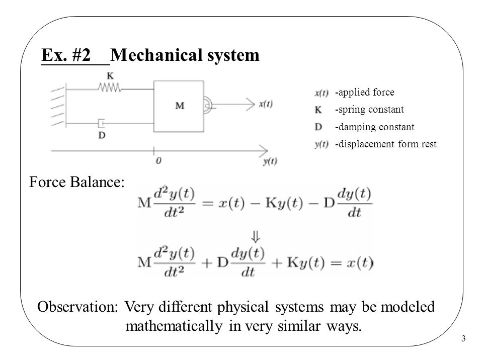 3 Ex. #2 Mechanical system Force Balance: Observation: Very different physical systems may be modeled mathematically in very similar ways. -applied fo