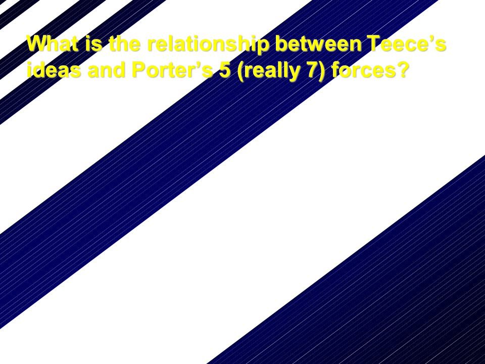 What is the relationship between Teeces ideas and Porters 5 (really 7) forces?