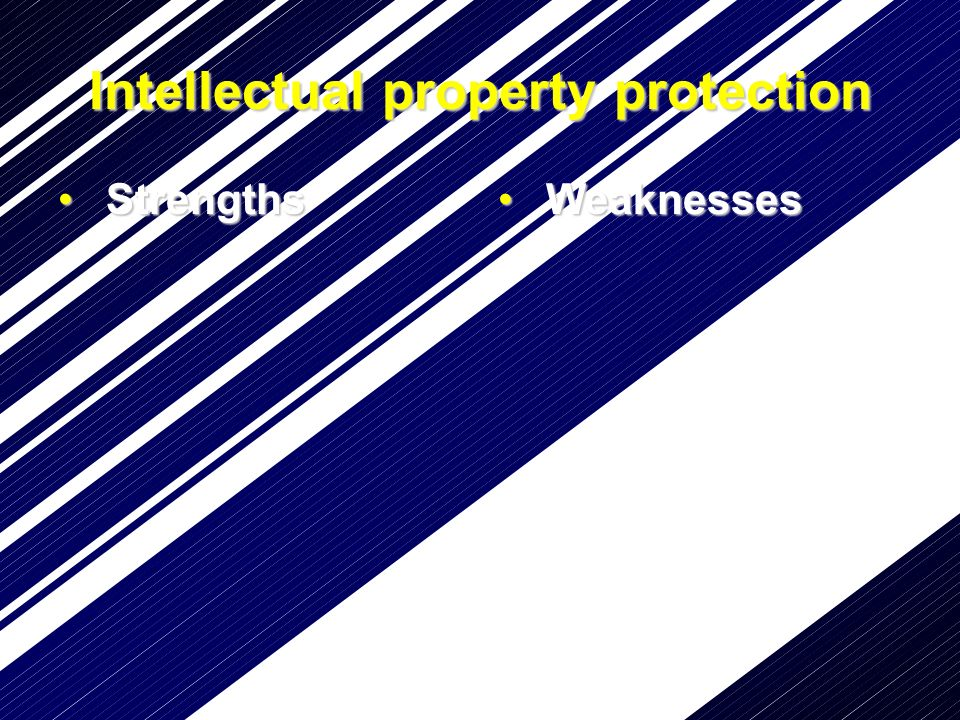Intellectual property protection Strengths Strengths Weaknesses Weaknesses