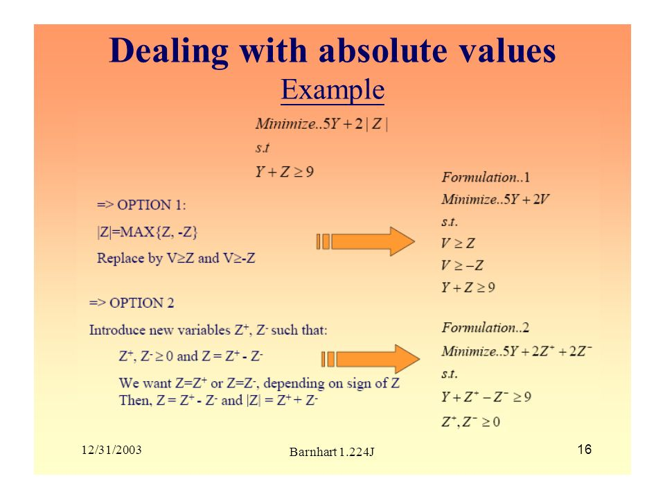 12/31/2003 Barnhart 1.224J 16 Dealing with absolute values Example