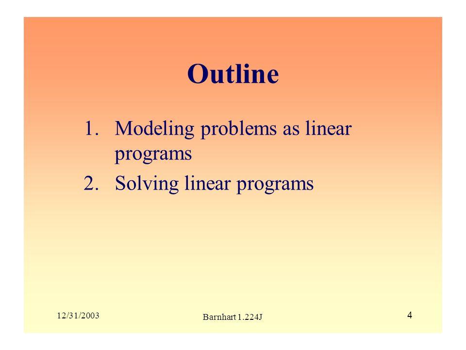12/31/2003 Barnhart 1.224J 25 Outline 2.