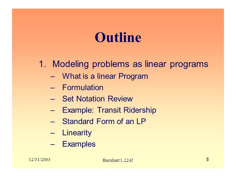 12/31/2003 Barnhart 1.224J 6 What is a Linear Program (LP).