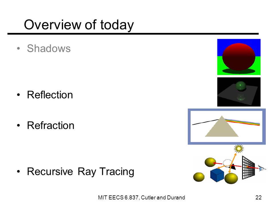 Overview of today Shadows Reflection Refraction Recursive Ray Tracing MIT EECS 6.837, Cutler and Durand 22