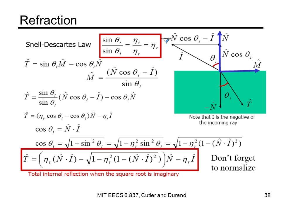 Refraction MIT EECS 6.837, Cutler and Durand 38