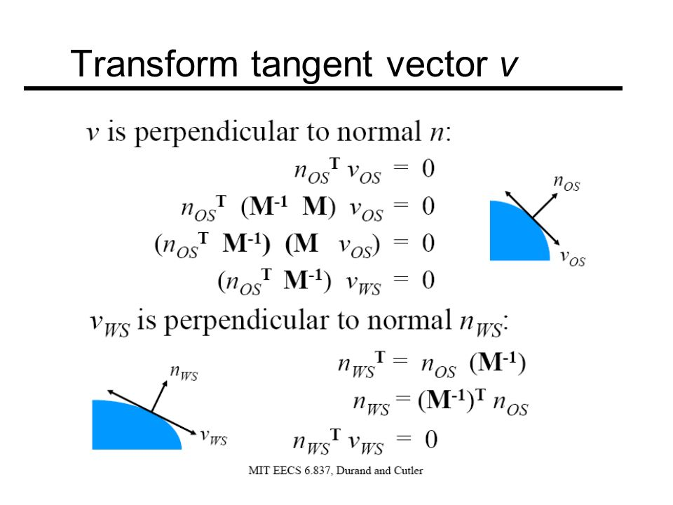 Transform tangent vector v