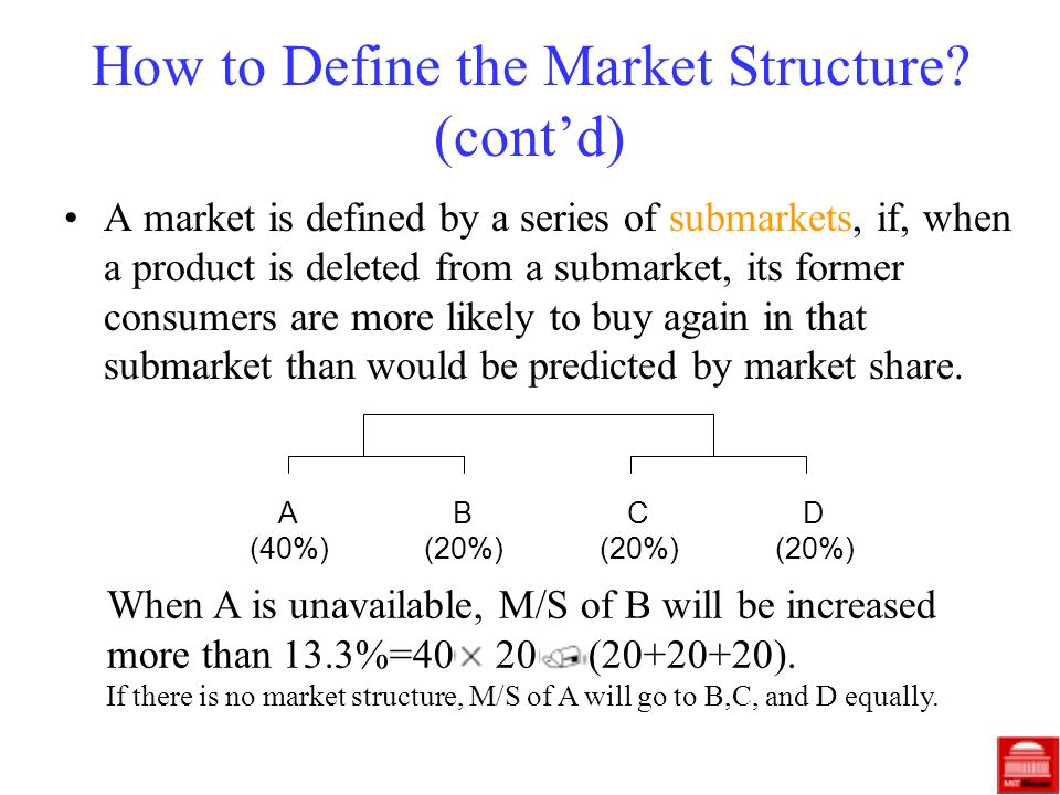 How to Define the Market Structure? (contd) A market is defined by a series of submarkets, if, when a product is deleted from a submarket, its former