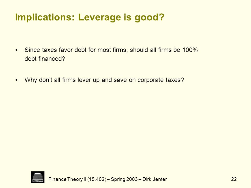 Finance Theory II (15.402) – Spring 2003 – Dirk Jenter22 Implications: Leverage is good? Since taxes favor debt for most firms, should all firms be 10