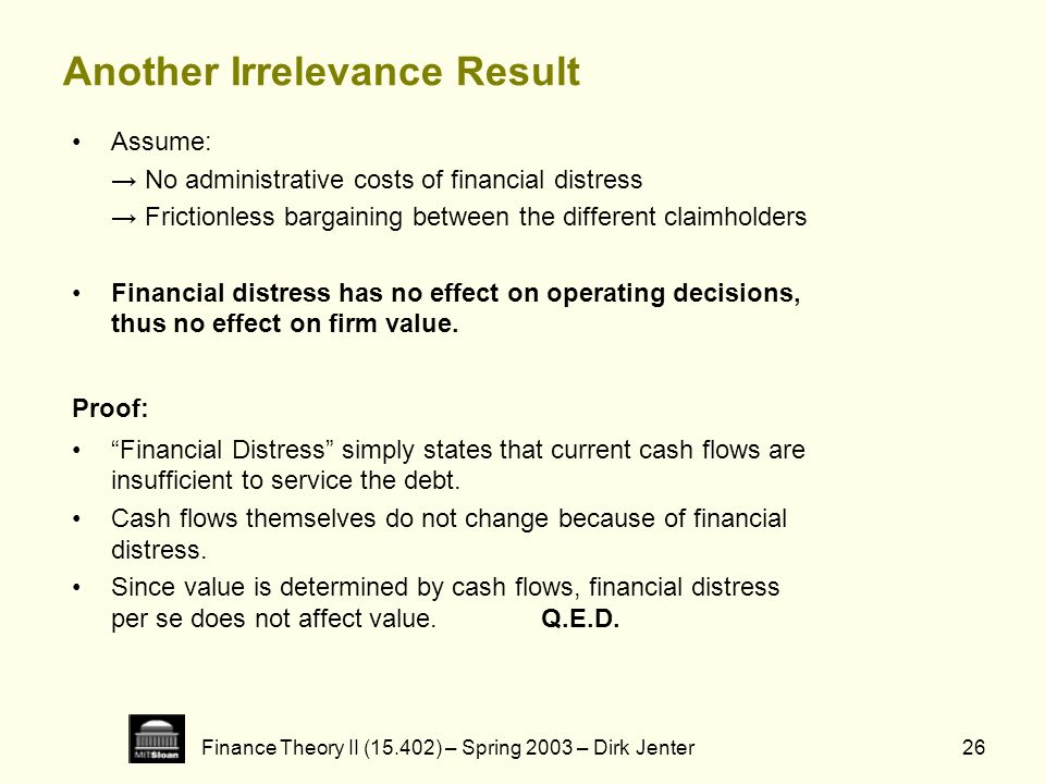 Finance Theory II (15.402) – Spring 2003 – Dirk Jenter26 Another Irrelevance Result Assume: No administrative costs of financial distress Frictionless