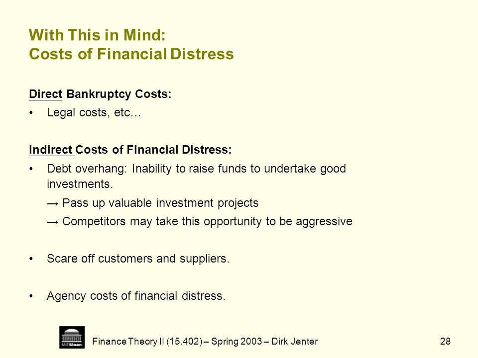 Finance Theory II (15.402) – Spring 2003 – Dirk Jenter28 With This in Mind: Costs of Financial Distress Direct Bankruptcy Costs: Legal costs, etc… Ind