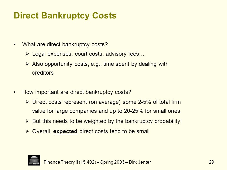 Finance Theory II (15.402) – Spring 2003 – Dirk Jenter29 Direct Bankruptcy Costs What are direct bankruptcy costs? Legal expenses, court costs, adviso