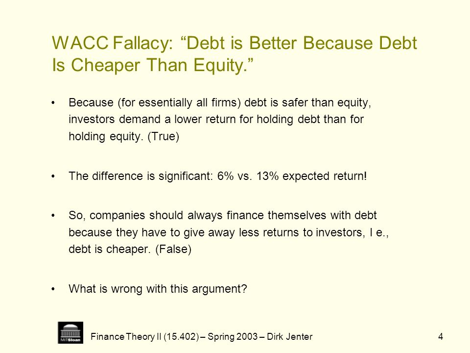 Finance Theory II (15.402) – Spring 2003 – Dirk Jenter4 WACC Fallacy: Debt is Better Because Debt Is Cheaper Than Equity. Because (for essentially all