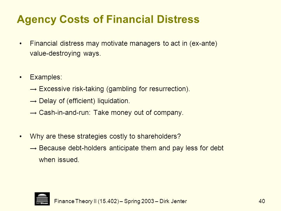 Finance Theory II (15.402) – Spring 2003 – Dirk Jenter40 Agency Costs of Financial Distress Financial distress may motivate managers to act in (ex-ant