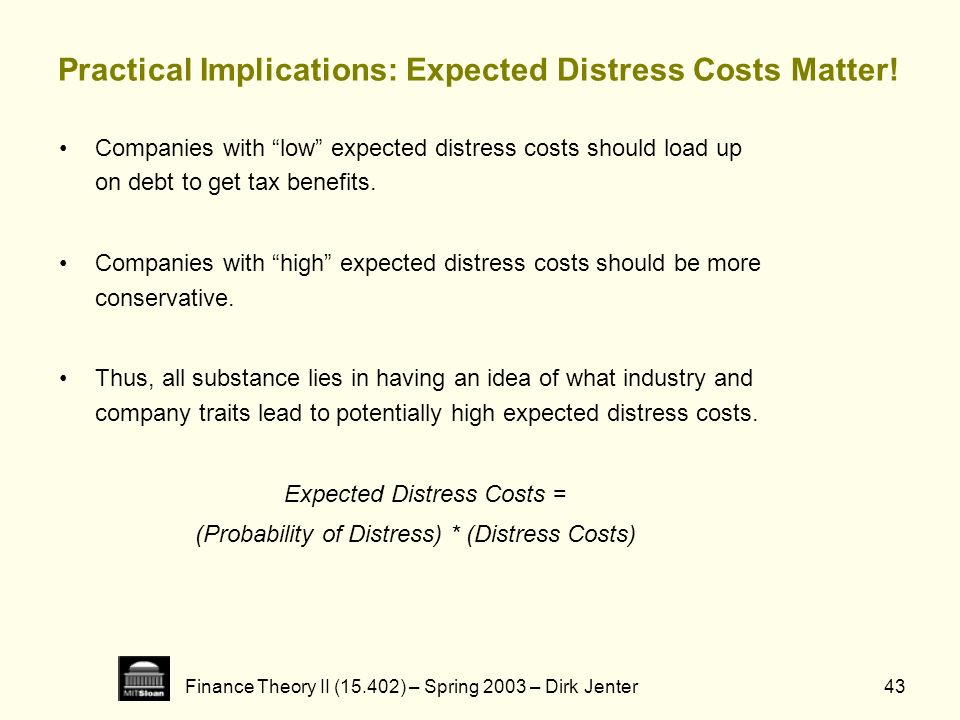 Finance Theory II (15.402) – Spring 2003 – Dirk Jenter43 Practical Implications: Expected Distress Costs Matter! Companies with low expected distress