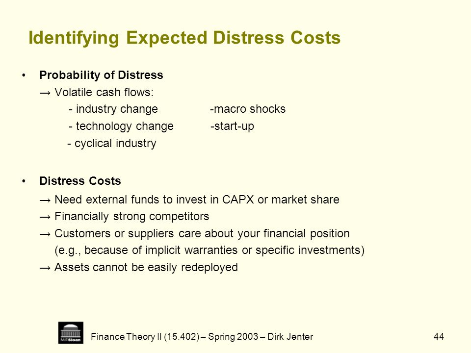 Finance Theory II (15.402) – Spring 2003 – Dirk Jenter44 Identifying Expected Distress Costs Probability of Distress Volatile cash flows: - industry c