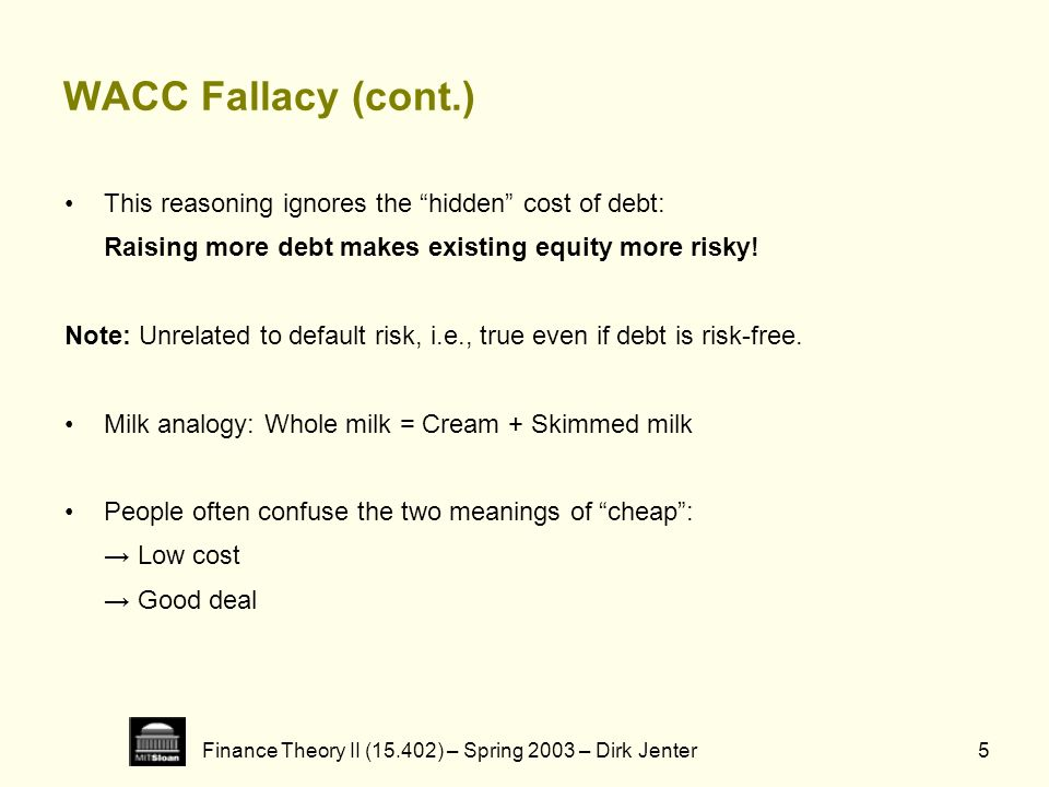 Finance Theory II (15.402) – Spring 2003 – Dirk Jenter5 WACC Fallacy (cont.) This reasoning ignores the hidden cost of debt: Raising more debt makes e