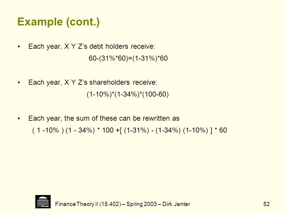 Finance Theory II (15.402) – Spring 2003 – Dirk Jenter52 Example (cont.) Each year, X Y Zs debt holders receive: 60-(31%*60)=(1-31%)*60 Each year, X Y