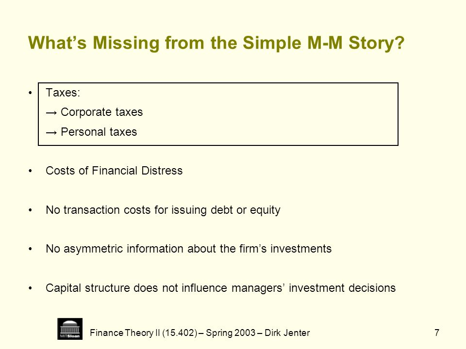 Finance Theory II (15.402) – Spring 2003 – Dirk Jenter7 Whats Missing from the Simple M-M Story? Taxes: Corporate taxes Personal taxes Costs of Financ