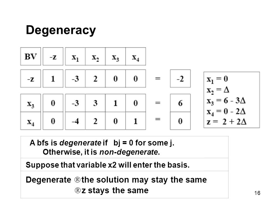 16 Degeneracy A bfs is degenerate if bj = 0 for some j. Otherwise, it is non-degenerate. Suppose that variable x2 will enter the basis. Degenerate the