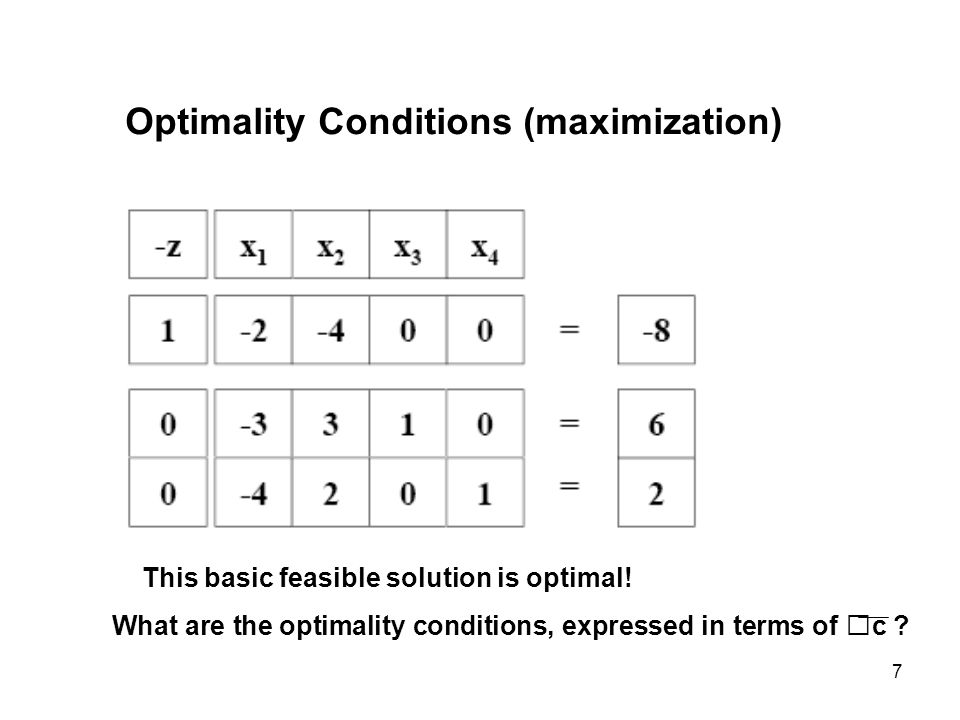 7 Optimality Conditions (maximization) This basic feasible solution is optimal! What are the optimality conditions, expressed in terms of c ?