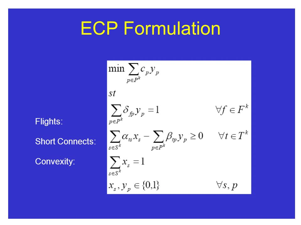 ECP Formulation Flights: Short Connects: Convexity: