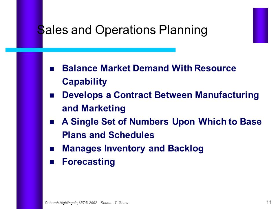 Deborah Nightingale, MIT © 2002 11 Sales and Operations Planning Balance Market Demand With Resource Capability Develops a Contract Between Manufactur