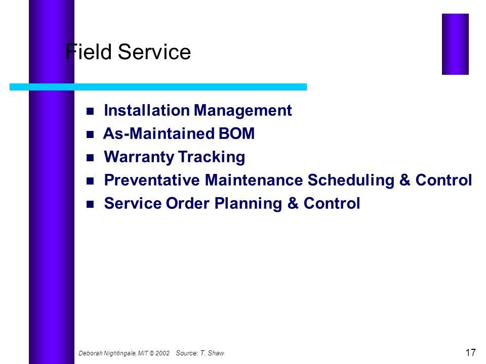 Deborah Nightingale, MIT © 2002 17 Source:T. Shaw Field Service Installation Management As-Maintained BOM Warranty Tracking Preventative Maintenance S