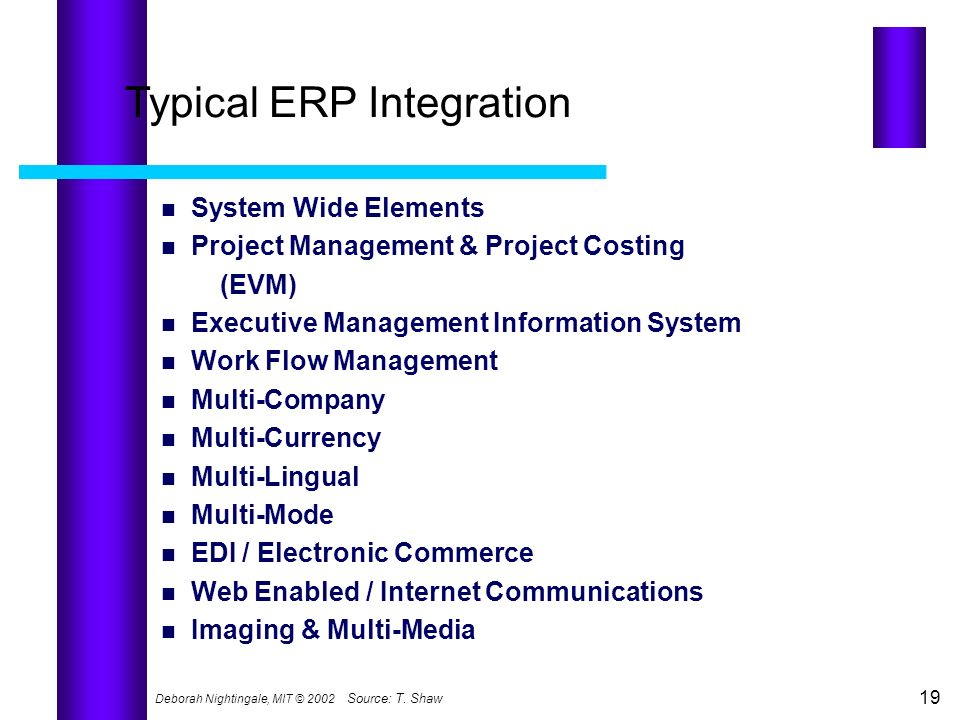 Deborah Nightingale, MIT © 2002 19 Source:T. Shaw Typical ERP Integration System Wide Elements Project Management & Project Costing (EVM) Executive Ma