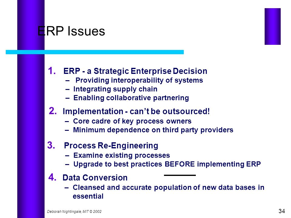 Deborah Nightingale, MIT © 2002 34 ERP Issues 1. ERP - a Strategic Enterprise Decision – Providing interoperability of systems – Integrating supply ch