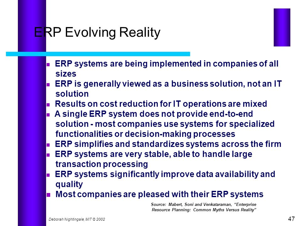 Deborah Nightingale, MIT © 2002 47 ERP Evolving Reality ERP systems are being implemented in companies of all sizes ERP is generally viewed as a busin