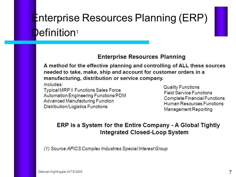 Deborah Nightingale, MIT © 2002 7 Enterprise Resources Planning (ERP) Definition 1 Enterprise Resources Planning A method for the effective planning a