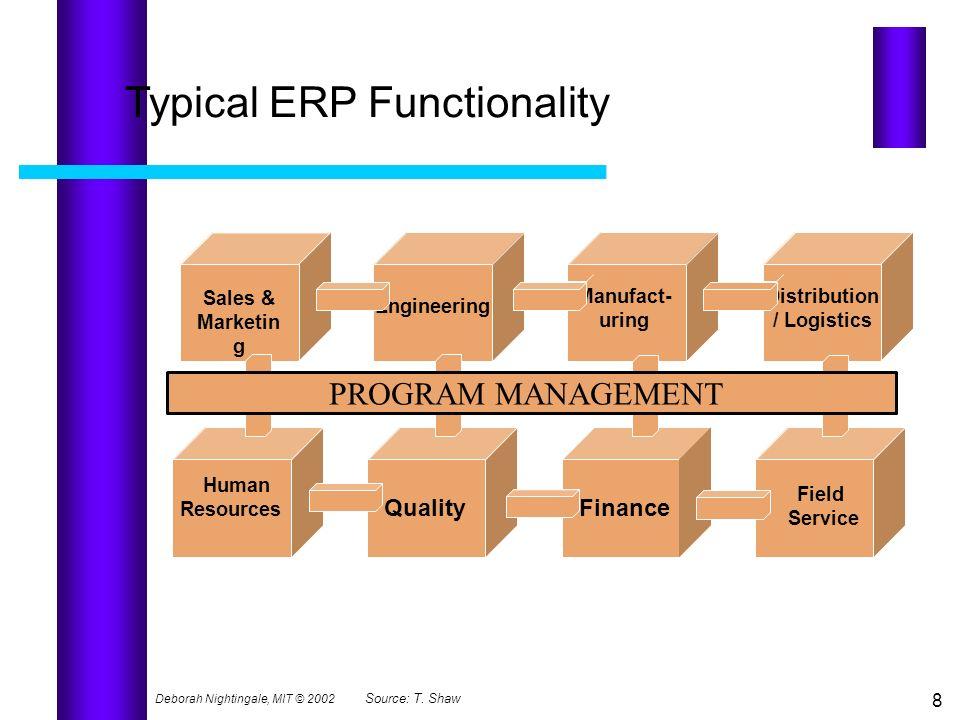 Deborah Nightingale, MIT © 2002 8 Typical ERP Functionality Sales & Marketin g Engineering Manufact- uring Distribution / Logistics Human Resources Fi