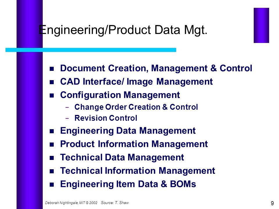 Deborah Nightingale, MIT © 2002 9 Engineering/Product Data Mgt. Document Creation, Management & Control CAD Interface/ Image Management Configuration