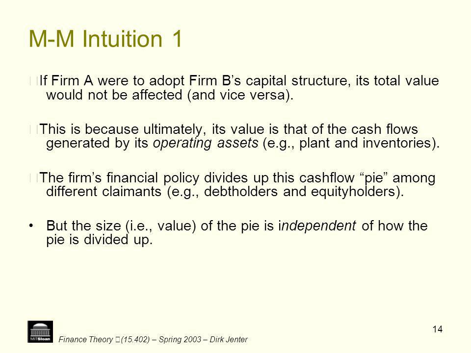 Finance Theory (15.402) – Spring 2003 – Dirk Jenter 14 M-M Intuition 1 If Firm A were to adopt Firm Bs capital structure, its total value would not be
