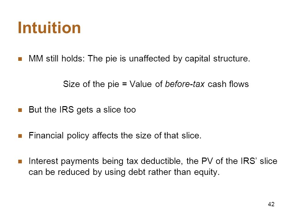 42 Intuition MM still holds: The pie is unaffected by capital structure. Size of the pie = Value of before-tax cash flows But the IRS gets a slice too