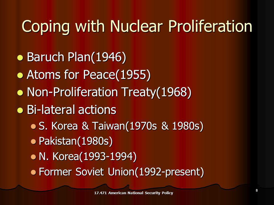 8 Coping with Nuclear Proliferation Baruch Plan(1946) Baruch Plan(1946) Atoms for Peace(1955) Atoms for Peace(1955) Non-Proliferation Treaty(1968) Non