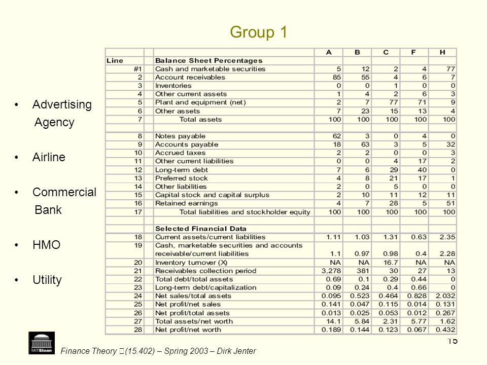 Finance Theory (15.402) – Spring 2003 – Dirk Jenter 15 Group 1 Advertising Agency Airline Commercial Bank HMO Utility